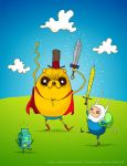 Finn + Jake + Beemo by pezbananadesign