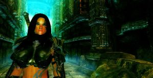 Sylah in the Dwemer Place by Iazcutler