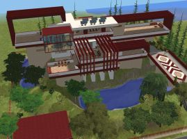 Sims 2 Modern red hillside mansion by RamboRocky