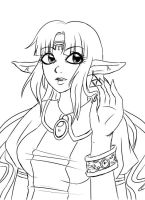 ALTTP Zelda: lineart by Coco-of-the-Forest