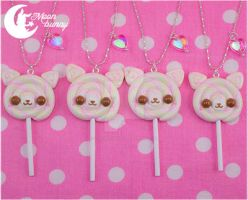 Lollipop cats Necklace by CuteMoonbunny