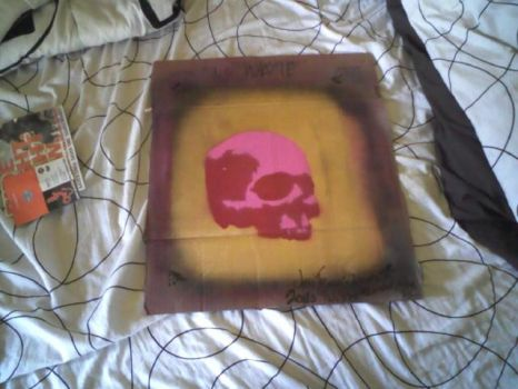 Pink and Red skull over gold by forgottenboy