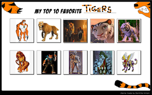 Top 10 favorite Tigers by Dragonprince18