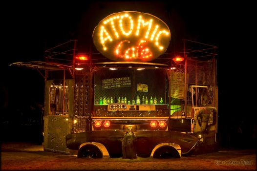 Night view of the Atomic Cafe by Doomsday-Dawn