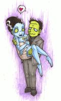 Frankenstein and The Bride by raevynewings