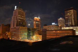Night scene Cleveland Ohio by TomKilbane