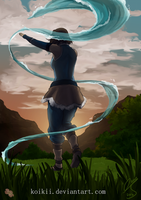 Waterbending in the sunset by Koikii