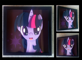 Commission:  Twilight Sparkle Portrait Shadowbox by The-Paper-Pony