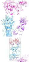 Yugioh Sketches with a Comic by Mynulet