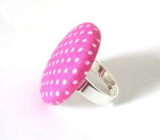 Pink ring adjustable white polka dot bright happy by KooKooCraft