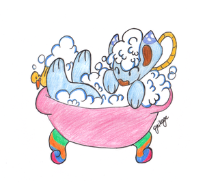 Bubs the Sudsy Sheep in a bathtub by Mikage-YoshinoAnerin
