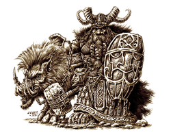 Dwarf and War Boar by vikingmyke
