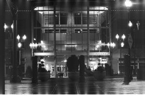 library, bnw film, night by acollins973