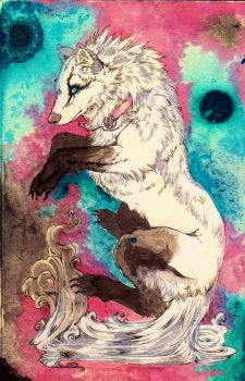 WhiteSpiritWolf ACEO DONE by ElysianImagery