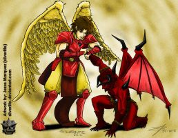 Commission: Angel Vs. Demon - Nikyo Hold by silverlife