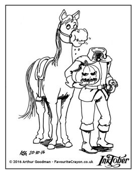 Inktober/Drawlloween 2016 Horses and Headless Men by FavouriteCrayon