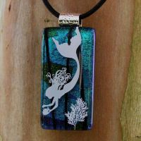 OoAK Diving Fused Glass by FusedElegance