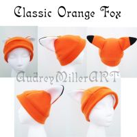 Classic Orange Fox Fleece Hat by AudreyMillerArt