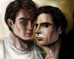 Clark Kent and Bruce Wayne by foxestacado