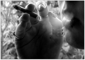 Chipped nails + day old smokes by EtherealMaybe