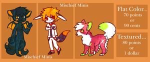 Mischief Minis Commissions by HappyFoxChelsy