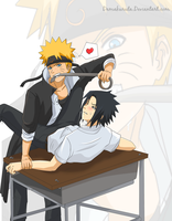 Art Trade: NaruSasu by KuromiyaDK