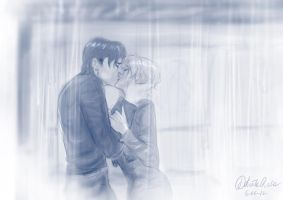 Commission - Kissing in the rain - by Fidi-s-Art
