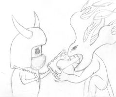 Sir Schmoopy and Monster by soen27