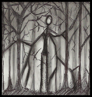 Slenderman Hiding in the woods by Cageyshick05