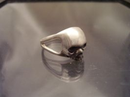 Dainty Sterling Skull Ring with Split band by whiskey1973