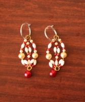 Red Bead Map Earrings by CharmyRaven