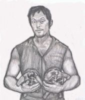 Daryl Dixon with turtles by gagambo