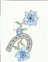 Blue Flowers with Horseshoe by myriadesigns