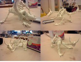 Skeletal Dragon: Sculpey by SushiBagel