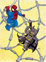 LEGO Spider-man and LEGO Batman by MichaelLinkJr