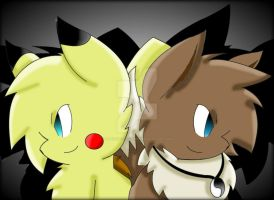Neon The Pikachu And Harold The Eevee Body Swaped by Zander-The-Artist