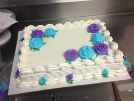 blue and purple roses Sheet Cake by Crosseyed-Cupcake