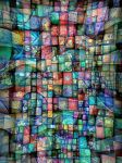 blue textile flowing trip red by santosam81
