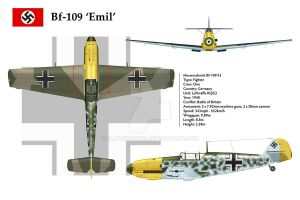 Bf109E3 JG2 3-View by WS-Clave