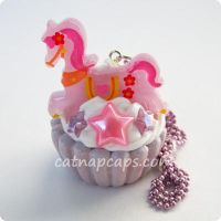 Violet Pony Cupcake Necklace by CatNapCaps