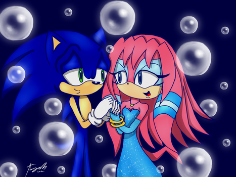 :AT: SonicXSky bubble date by Amy-Oh