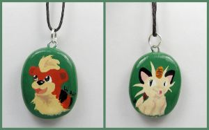 Growlithe and Meowth Necklace by LeiliaClay