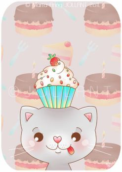 A Cat with a Cupcake Hat by yuki-the-vampire