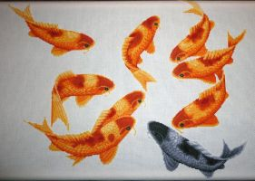 Blessing Fish - Cross stitch - WIP 4 by black-lupin