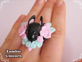 Bunny Garden ring in black and pink by Galadriel89