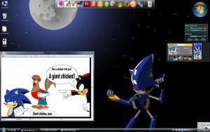 Metal Sonic Desktop by TheWax
