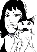 Lilah Muerte and her cat Patches by StevenEly