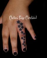 Stars along finger - Tattoo by Chelsea by SmilinPirateTattoo