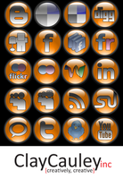 Orange Orb Social Media Icons by claycauleyinc