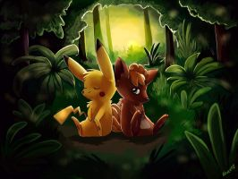 Vulpix and Pika by Togechu